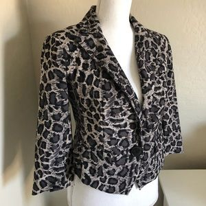XOXO- GRay/Black Leopard Print Short Blazer